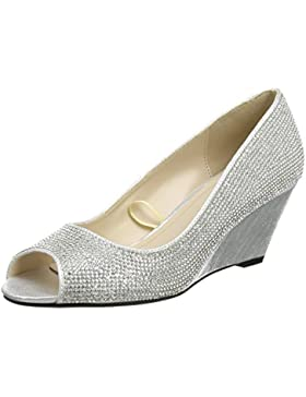 Quiz - Silver Diamante Wedges, Scarpe spuntate Donna