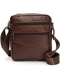 OURBAG Men Vintage Cowhide Leather Shoulder Messenger Bag Crossbody Small Satchel