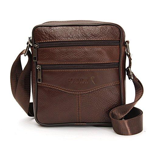 bf3814411185 OURBAG Men Vintage Cowhide Leather Shoulder Messenger Bag Crossbody Small  Satchel Dark Brown