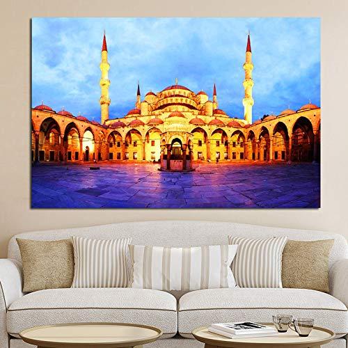 yhyxll Islamic Blue Türkei Istanbul Sultan Ahmed Moschee Religiöser Druck und Poster auf Leinwand Wandbild für Wohnzimmerbilder Dekor 50x70cm -
