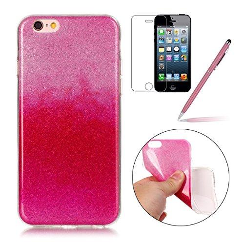 iPhone 6 Plus Case,iPhone 6S Plus Hülle - Felfy Apple iPhone 6 Plus/6S Plus 5.5 Zoll Ultra Slim Ultradünn Case Soft Gel Flexibel TPU Silikonhülle mit Bling Sternchen Gradient Farbe Design Protective S Rosa Rote Case