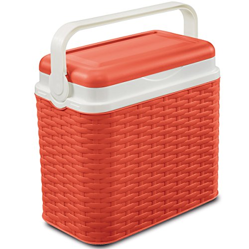 Kühlbox in Rattanoptik 10 Liter, Kunststoff, 30x28cm, koralle - Picknick Kühltasche Camping Kühlkorb Kältebox Isolierbox Getränkebox