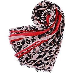 Bufandas y Pañuelos de Mujer Estampado Leopardo Calentador de cuello Chal para Otoño e Invierno
