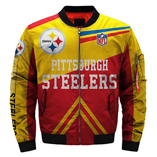 moxishop NFL Football Jacke Herren Draussen Varsity Jacken Herbst Winter Sportjacke Übergangsjacke Bomberjacke Mens Outdoor Sports Jacket (Pittsburgh Steelers,XXXL) (Xxxl Steelers)