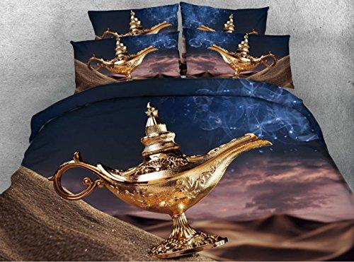 LifeisPerfect JF 165 Magische Lampe Drucken Bettdecke Bettwäsche 5-tlg Kinder Doppelzimmer mit King Size Bett in Einem Beutel Quilt Eingestellt (King-size-bett In Einem Beutel)