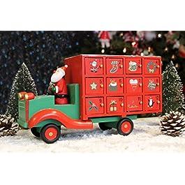 Gisela Graham Calendario dell'Avvento in Legno con Camion di Babbo Natale