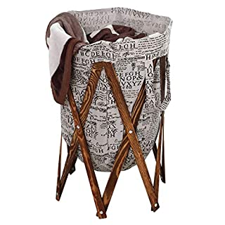 AZDENT Vintage Laundry Hamper Wood Frames Collapsible Laundry Basket Bags