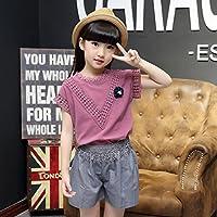ZZ Pantalones Cortos de Camiseta de algodón de Encaje Casual para Mujer de niño Medio,Púrpura,140cm