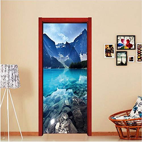 Newberli 3D Blau Chinesischen Bergsee Kühlschrank Aufkleber Abnehmbare Wand Tür Aufkleber Selbstklebende Aufkleber Wandbilder Küche Diy Dekoration