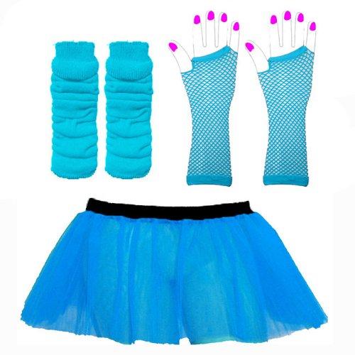 Tutu legwarmers gants - Adulte Déguisement - La taille adulte 36 - 42 (Turquoise) 26 cm de long