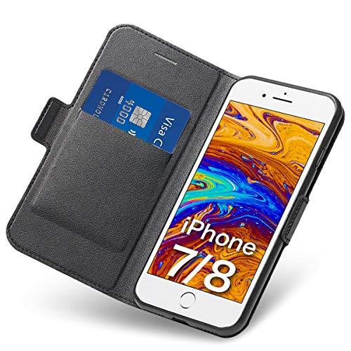 Tisuges iPhone 8 Hülle iPhone 7 Schutzhülle iPhone 8 Leder-Etui aus Leder Folio-Hülle Schutzhülle PU + TPU Soft Shockproof Flip-Cover und Ständer mit Kartenhalter (Schwarz) 7-leder Etui