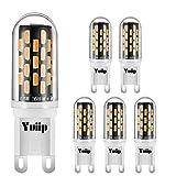 G9 LED Lampe Birne RA90 G9 LED Leuchtmittel 2.5W 350 Lumen Ersetzt 30W Halogen AC100-265V, Warmweiß 3000k, Kein Flimmern,360° Abstrahlwinkel 6er-Pack-Yuiip
