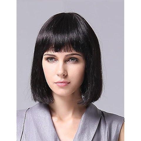 Pelucas de la manera conveniente y cómodo sin tapa 100% peluca de pelo rizado del pelo humano,natural