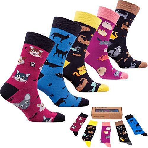 socks n socks-Männer 5 pk Bunte Baumwolle Neuheit Süße Katzen Kätzchen Socken Geschenkbox Einheitsgröße