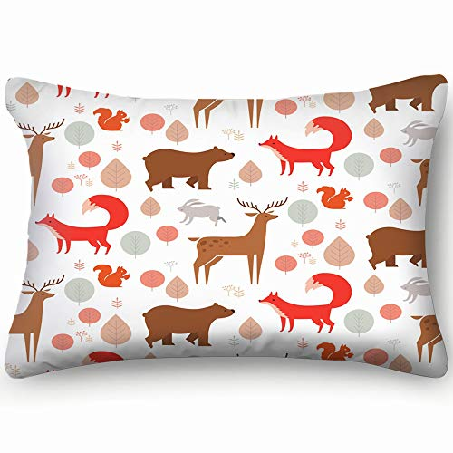 dfgi Forest Animals Fox Animals Wildlife Animals Wildlife Skin Cool Super Soft and Luxury Pillow Cases Covers Sofa Bed Throw Pillow Cover with Envelope Closure 20 * 30 inch