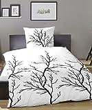 PRIMERA Mako-Satin Bettwäsche (Baumwolle) Baum/ Äste 135x200 + 80x80 cm weiß