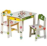 Stuhl für Kinder - stabiles Holz - ' weiß / gelb ' - incl. Name -...