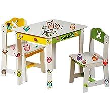 """3 tlg. Set: Sitzgruppe für Kinder - aus sehr stabilen Holz - weiß - """" bunte Eulen """" - Tisch + 2 Stühle / Kindermöbel für Jungen & Mädchen - Kindertisch - Kinderstuhl - Kinderzimmer für circa 1 - 3 Jahre - Kindersitzgruppe - Tischgruppe / Stühlen"""