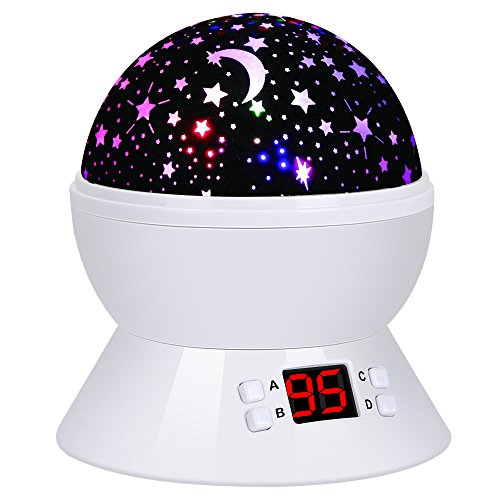 Lámpara Infantil 360 Grados Rotación 8 Modo Proyector Estrella Romántica Luna Lámpara de Proyección Luces Nocturna para los Niños, Cámping, Boda, Amigo, Amante, Halloween, Navidad, Cumpleaños, Fiestas (blanco)