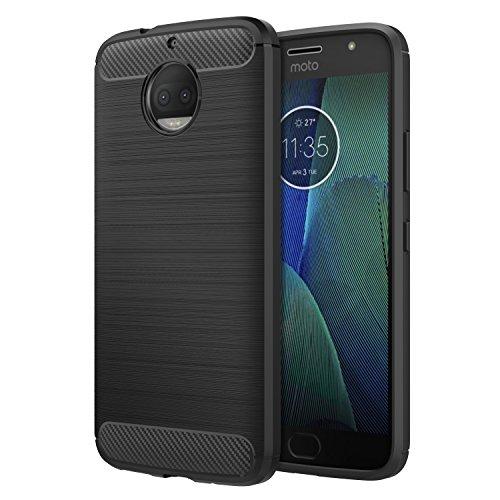 MoKo Motorola Moto G5S Plus Hülle, Kohlefaser Design Advanced Shock Absorption Case Schutzhülle Schale Slim Leicht weiches TPU Silikon Handyhülle Cover Bumper für Moto G5S Plus, Schwarz