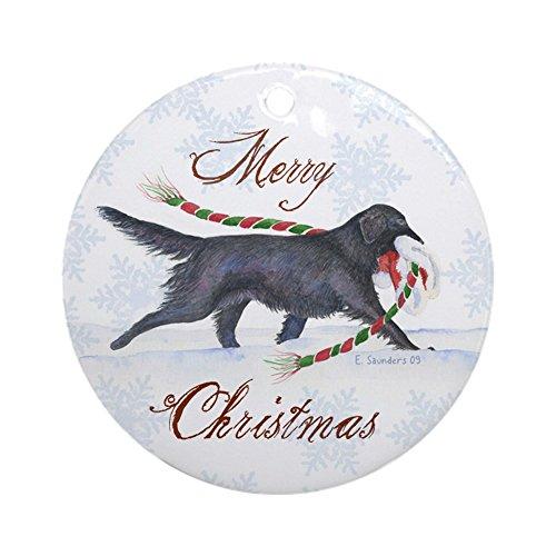 CafePress-Flat Coated Retriever Ornament (rund)-Rund Urlaub Weihnachten Ornament -
