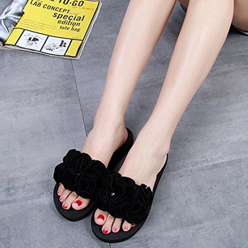 flops Noir Dété Plage Rouge Sandales Chaussures Ohq Chaudes Fleur Épaisse  Femmes Lapin Isotoner Fantaisie Pantoufles Flip Femme Rose Tongs ... 1b4a37a8a2e9