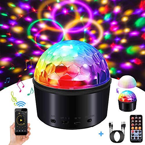 YSYDE Disco Crystal Magic Ball Licht, Bluetooth-Lautsprecher Strobe Party Lichter, USB-Nachtlicht, 9 Farben LED-Fernbedienung, für die Bühnenbeleuchtung mit stilvollen Crystal Bluetooth