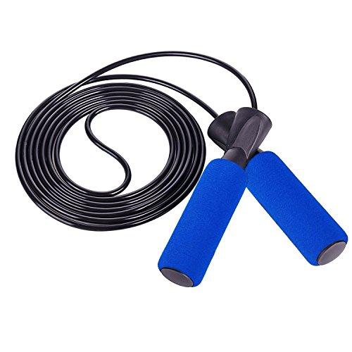 LUZWAY Comba de Velocidad, Cuerda de Saltar de PVC Ajustable & Rodamiento de Bolas para Fitness, Ejercicios de Quemar Grasa ,Boxeo , Cross Training, MMA. Color Azul