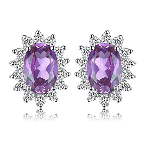JewelryPalace Prinzessin Diana William Kate Middletons 1.1ct Natürliche Amethyst Halo Ohrstecker 925 Sterling Silber