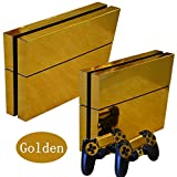 DOTBUY PS4 Vinyl Decal Autocollant Skin Sticker pour Playstation 4 console + 2 Dualshock Manette Set (Gold Glossy)