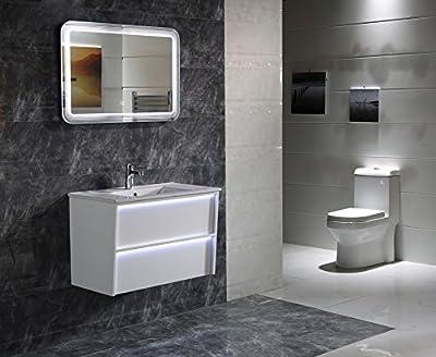 Design LED-Beleuchtung Badspiegel GS086 Lichtspiegel Wandspiegel mit Touch-Schalter Tageslichtweiß IP44
