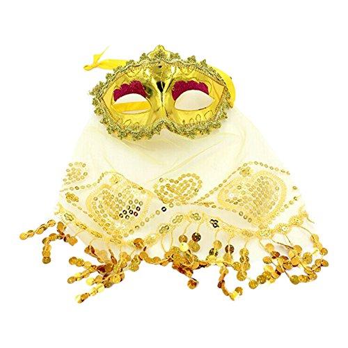 Qinlee Bauchtanz Masken Mit Schleier Masquerade Augenmaske Venezianische Halloween Karneval Maskentanz Party für Mädchen (Gelb)