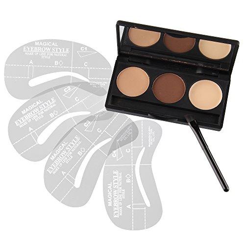 Beauty7 Coffret Poudre Sourcil 3 Couleur Gel Modelage Pinceau Miroir + 4 Pochoirs C1 - C4 Maquillage