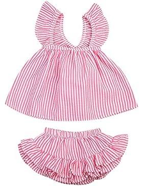 Bebé Niña de Ropa Conjutos Camiseta de Raya Bowknot Sin Mangas Top y Pantalones Cortos