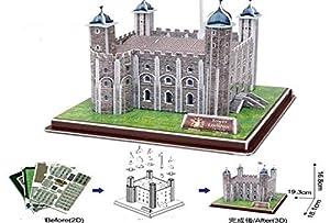Allkindathings - Puzzles de Papel con diseño de Torre de Londres en 3D, 36 Piezas