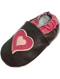 fd5dba965582c Carozoo Semelles Souple en Cuir Chaussures pour Enfants bébé Fille Enfant  Chaussons Booties Caroline Zoo Hearts