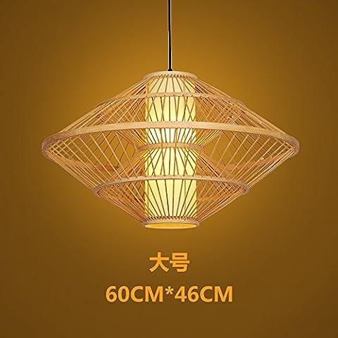 GZLOFT Lampe Suspension Plafonnier Lustres Bois de Bambou japonais Itanium Antique Restaurant Cafe Restaurant Auberge fermes, Grand 60cm*46cm