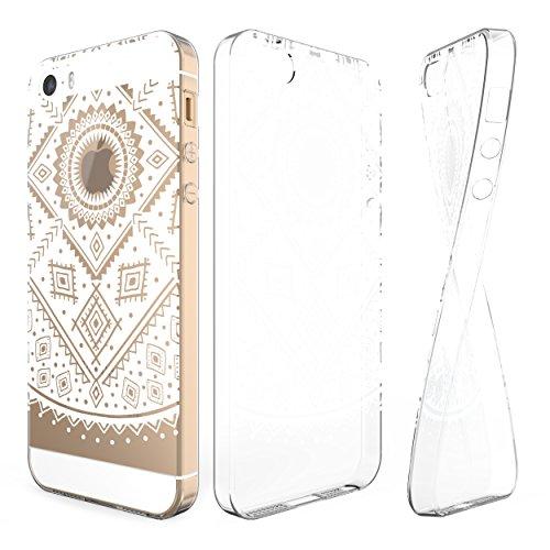 Urcover® iPhone 5 / SE Hülle | Trend Fashion | TPU in Mandala Mint | Zubehör Tasche Case Handy-Cover Schutz-Hülle Schale Muster Ethno Weiß