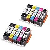 CTC Kompatible Druckerpatronen Mit Chip ersetzt PGI-525, Schwarz für Canon Pixma iP4850, iP4950, iX6550, MG4150, MG5150, MG5250, MG5340, MG5350, MG6150, MG6250, MG8150, MG8240, MG8250, MX884, MX885 2PGBK, 2BK, 2C, 2M, 2Y