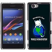 Planetar® ( Mundial Planeta Tierra Cat Gobernante Rey blanco Anime ) Sony Xperia Z1 Compact / Z1 Mini (Not Z1) Fundas Cover Cubre Hard Case Cover