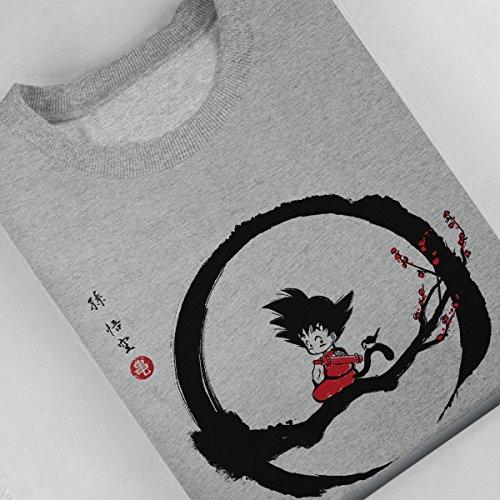 Young Goku Under The Moon Dragon Ball Z Women's Sweatshirt Heather Grey