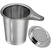 Ipow Teapot Extra Fine Tea Infuser Steeper Strainer with Lid and Handle for Loose Leaf Grain Tea Cups, Mugs, and Pots