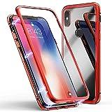 Jonwelsy Huawei P20 Lite Hülle, Stark Magnetische Adsorption Technologie, Ultra dünn Metallrahmen Transparent Gehärtetes Glas Rückseite Case Cover für Huawei P20 Lite (Rot)
