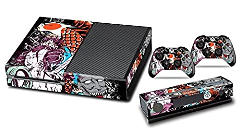 Designer Skin Sticker for the Xbox One Console With Two Wireless Controller Decals- Tsunami