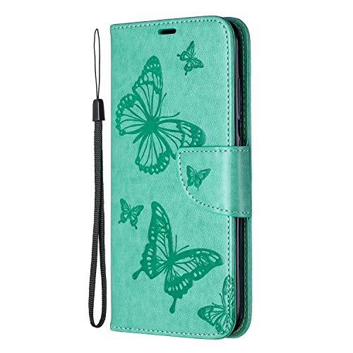 Lomogo Nokia 3.2 Hülle Leder, Schutzhülle Brieftasche mit Kartenfach Klappbar Magnetverschluss Stoßfest Kratzfest Handyhülle Case für Nokia3.2 - LOBFE140330 Grün 3,2
