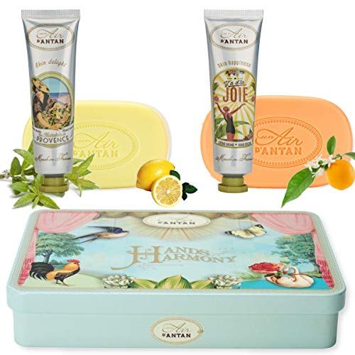Beauty Gift Box: 2 Hand Cream with Almond Oil 2x25ml + 2 Soap with Organic Shea Butter and Organic Oils 2x100g - Original Gift Boxes for Woman, Birthday, Mother's Day