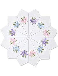 Milesky Mouchoirs Broderies Florales 28 x 28cm, Assortiment de 12 Pièces