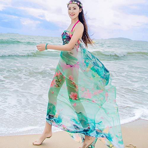 XIANWEI Delantal De Gasa para Mujer/Abrigo/Juego De Playa/Bufanda/Estampado con Protección Solar Traje De Baño De Verano Vestido De Gran Tamaño con Mantón 200x140 CM Rosa Verde