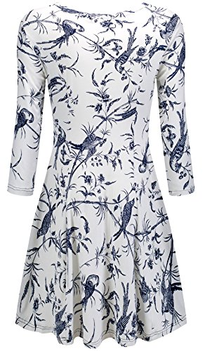 KorMei Damen Mini Skaterkleid Rundhals 3/4-Arm Fattern Stretch Basic A-Linie Kleider Weiß