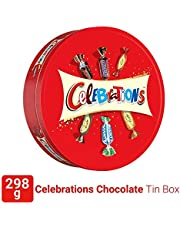 Celebrations Valentines Day Assorted Chocolate Gift Pack Tin Box (Snickers, Mars, Bounty, Galaxy Jewels)- 298.2g, 295 g